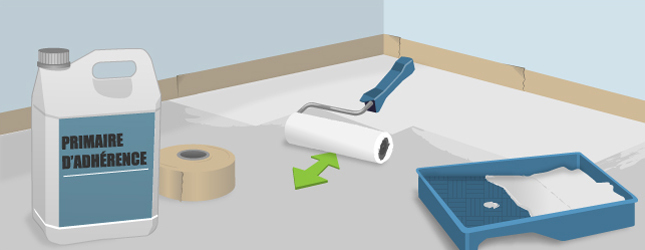 Appliquez un primaire d'accrochage sur le sol en ciment