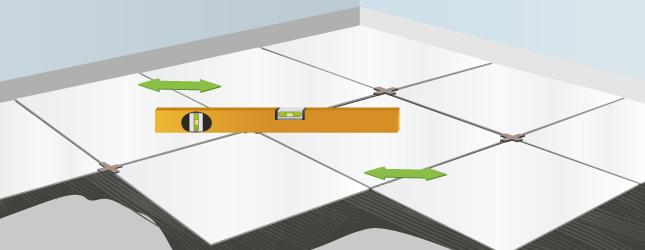 Vérifiez la régularité du carrelage au sol