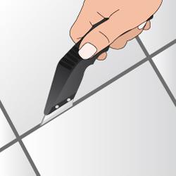 Dégarnissez les joints autour des carreaux défaillants
