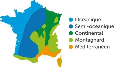 Climats de France : océanique, semi-océanique, continental, montagnard et méditérannéen