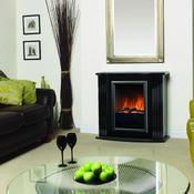 Cheminée décorative à effet de feu de bois avec chauffage électrique à convection ventilée.