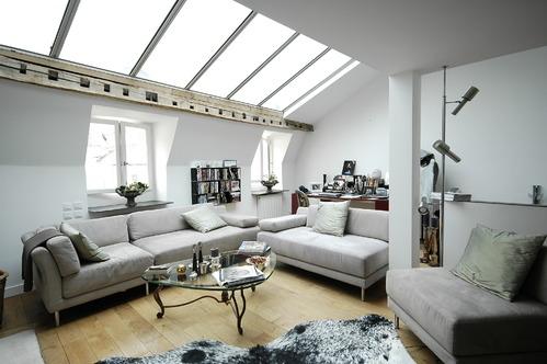 combles avec vitrage au plafond