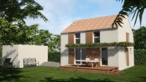 Construction d'une maison bioclimatique à un étage avec terrasse en bois