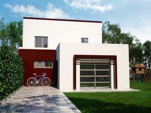 Construction d'une maison blanche et bordeau possédant un étage et ayant un toit plat