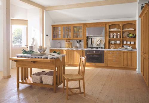 Photo le guide de la cuisine cuisine rustique tout en - Deco cuisine bois clair ...