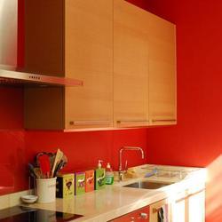 Peinture murale orange vif - Inspiration cuisine