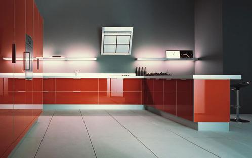 Photo decoration cuisine design rouge for Decoration cuisine design