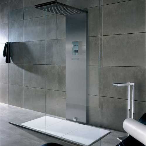 photo guide de la salle de bain douche en inox avec systeme de pr chauffage auto double paroi. Black Bedroom Furniture Sets. Home Design Ideas