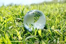 Herbe globe monde verre exterieur
