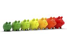 Cochons rangee vert jaune rouge classe energie