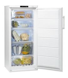 Intérieur d'un congélateur armoire blanc avec cinq tiroirs