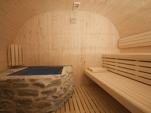 Charmant Sauna En Bois Contenant Un Grand Poêle En Pierre Traditionnel Idees De Conception