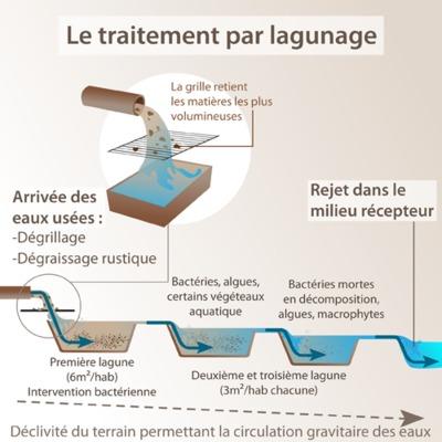 Schéma d'explication du lagunage des eaux usées