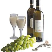 Vin blanc, raisin blanc, deux verres