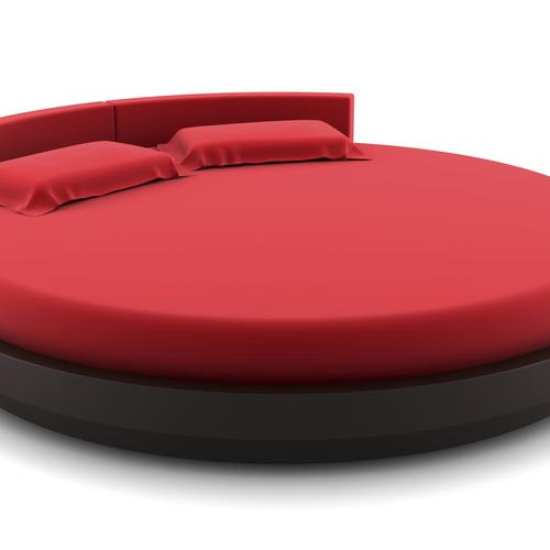 Lit design rond rouge