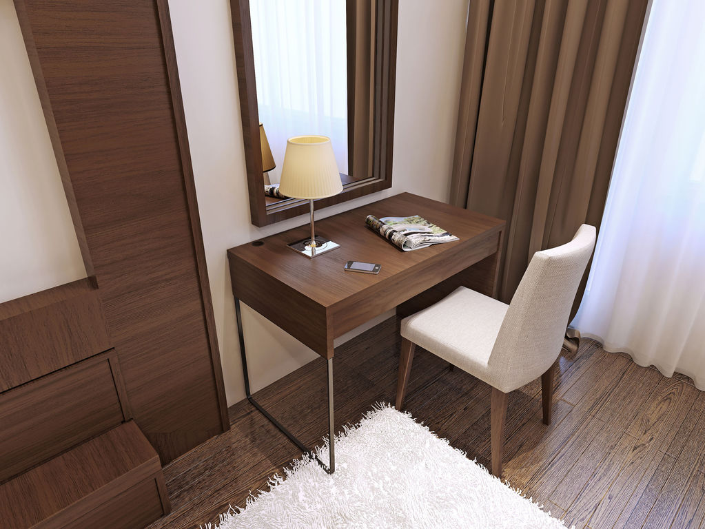 D co chambre lin marron for Chambre meuble