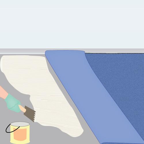 Poser de la moquette en rouleau