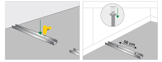Monter une cloison en plaques de pl tre mur for Monter une cloison en ba13