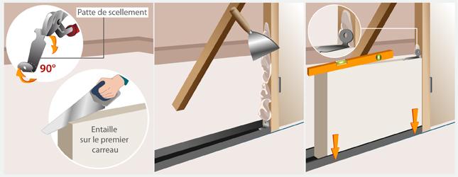 monter une cloison en carreaux de plâtre - mur