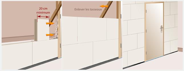 Monter une cloison en carreaux de pl tre mur for Fenetre interieure dans cloison carreau platre