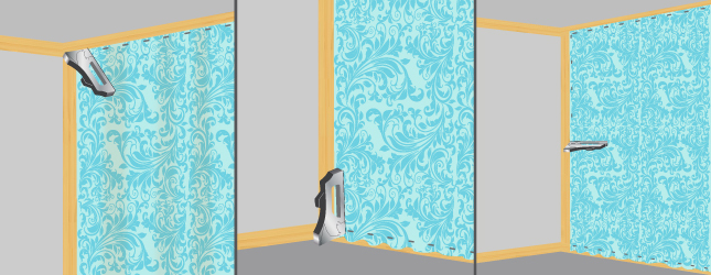 poser du tissu mural papier peint. Black Bedroom Furniture Sets. Home Design Ideas