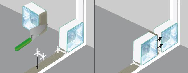 Poser des briques de verre mur for Mur en verre interieur