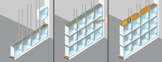 Poser des briques de verre mur for Monter un mur en brique de verre salle de bain