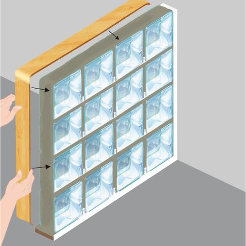 poser des briques de verre mur. Black Bedroom Furniture Sets. Home Design Ideas