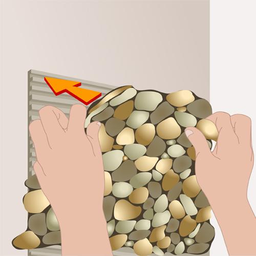 Poser des galets au mur