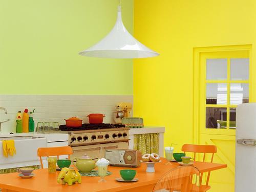 Chambre jaune et orange id es de d coration et de mobilier pour la conception de la maison for Chambre orange et vert anis