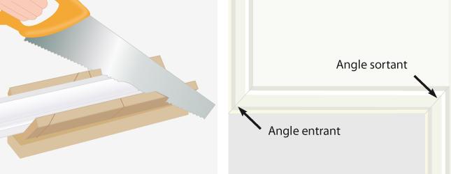Poser une corniche au plafond plafond - Comment couper des baguettes en angle ...