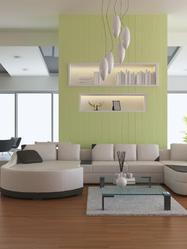 Au plafond, la suspension lumineuse attire notre regard et apporte à la pièce une lumière directe ou diffuse.