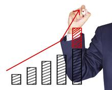 Graphique croissance rouge homme
