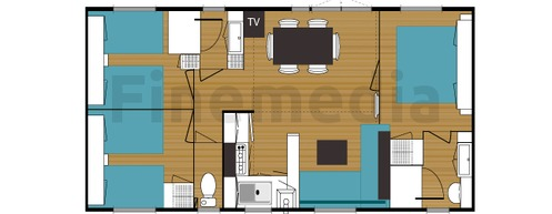 Plan de mobil home oorekab for Plan amenagement interieur