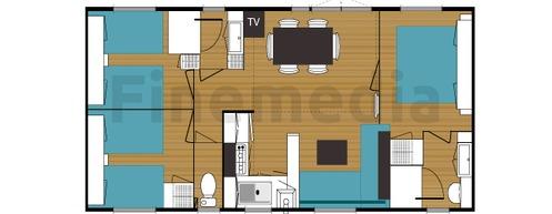 Plan d'un mobil home de 3 chambres