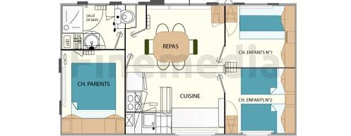 Plan de mobil home avec une cuisine séparée