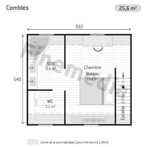 photo combles plan de combles carr s. Black Bedroom Furniture Sets. Home Design Ideas