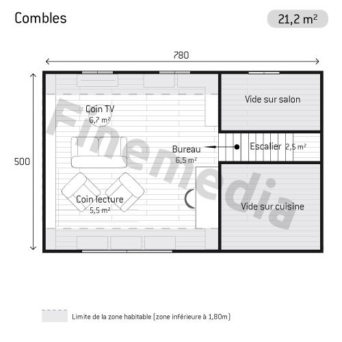 Photo combles plan de combles rectangulaires - Combles amenageables surface habitable ...