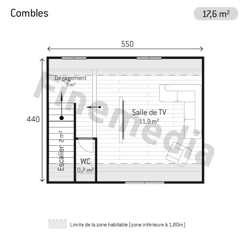 Photo combles plan de combles carr s - Combles amenageables surface habitable ...