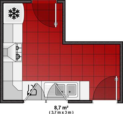 Photo le guide de la cuisine plan de cuisine avec for Plan amenagement cuisine restaurant