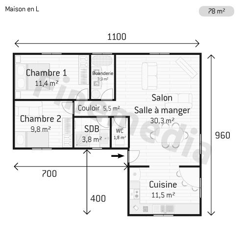 Exemple plan maison plain pied quotes for Plan maison en l
