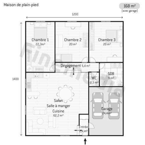 Hauteur maison plain pied finest plan du duune maison - Plan maison plain pied chambres avec garage ...