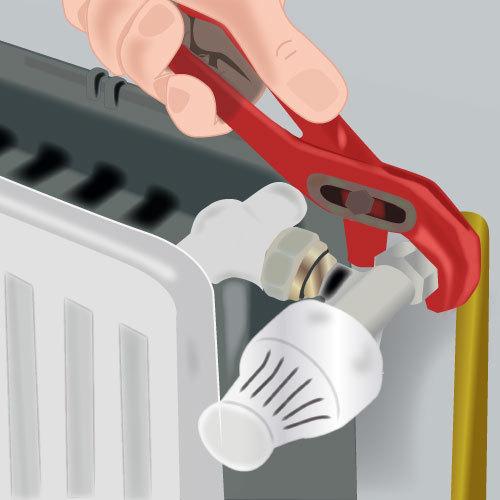 Placez le nouveau robinet du radiateur