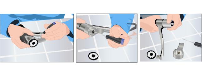 Démontez la poignée du robinet mitigeur (option 2)