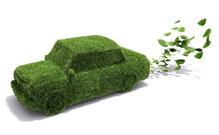 Voiture ecolo verte herbe