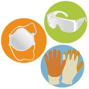 Gants, masque et lunettes de protection