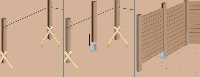 poser des palissades en bois sur sol - portail clôture