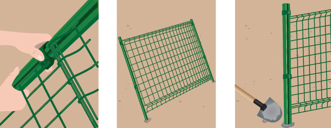 Poser des panneaux de grillage portail cl ture - Comment monter un grillage de cloture ...