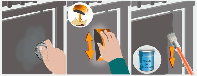 Repeindre Portail Rouill. Rampe Et Rambarde Uses Par La Rouille