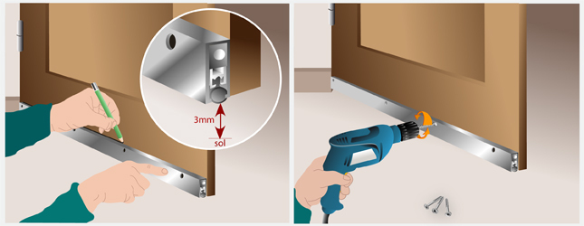 Poser une plinthe automatique porte for Seuil de porte isolant